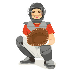 Young baseball catcher player on crouching stance playing match