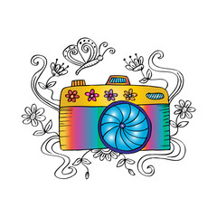 Sketch of a photo camera with butterfly and floral.