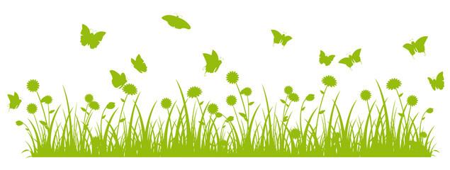 Butterfly meadow banner green silhouette