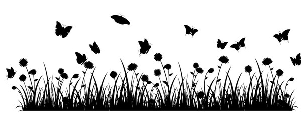 Butterfly meadow banner black silhouette