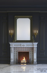 Fireplace on the background of a classic interior in dark colors. 3d rendering.