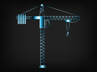 tower crane with hook vector illustration