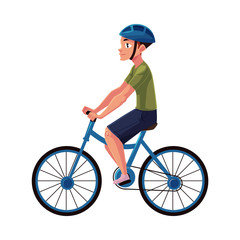 Bicycle, cycle, bike rider, cyclist wearing helmet, side vew, personal transport concept, cartoon vector illustration isolated on white background. Man riding bicycle wearing helmet, healthy lifestyle