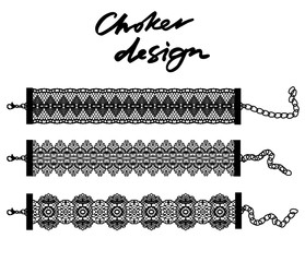 Choker design. Collection of chokers.