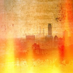 Vintage city skyline with fire and flames effect.