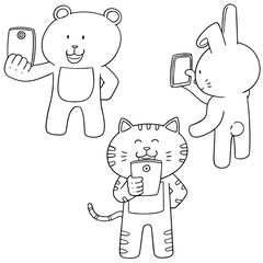 vector set of animal using smartphone