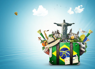 Fotorolgordijn Brazilië Brazil, Brazil landmarks, travel and retro suitcase