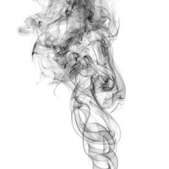Black of smoke on white background.