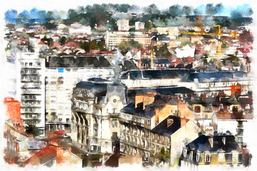 Colorful painting of cityscape aerial view
