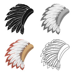 War bonnet icon in cartoon style isolated on white background. USA country symbol stock vector illustration.