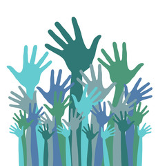 Green and blue colorful up hands logo. Vector stock.