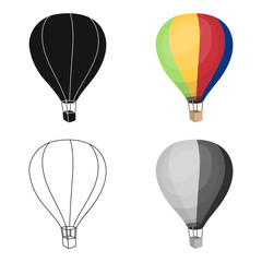 Airballoon icon in cartoon style isolated on white background. Rest and travel symbol stock vector illustration.