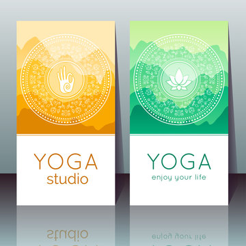 Vector yoga cards with mudra, lotus, mountain landscape, ethnic indian pattern and sample text for use as a template of banner, backdrop, poster, invitation for yoga center, studio or retreat.