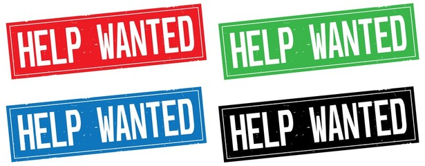 HELP WANTED text, on rectangle stamp sign.