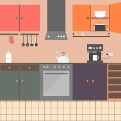 Kitchen interior with furniture, appliances, dishes. The morning coffee drink scene. Cozy kitchen interior with cooking devices, cupboard and dishes. Flat style vector illustration.