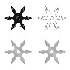 Metal shuriken icon cartoon. Single weapon icon from the big ammunition, arms set.