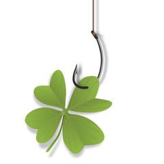 trèfle - chance - bonheur - trèfle à 4 feuilles - fortune - hameçon