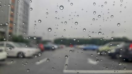 Raindrops on car winshield