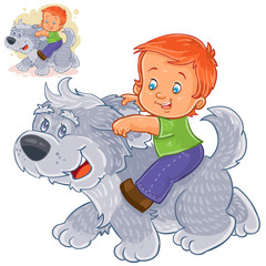Vector illustration of a little boy sitting on a big dog and holding on to his ears. Print