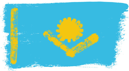 Kazakhstan Flag Vector Hand Painted with Rounded Brush