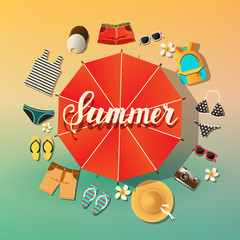 Summer background. Summer vector symbols are located around the umbrella from the sun