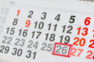 Calendar 26 May close-up, shallow dof