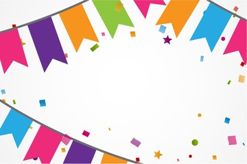 Colorful confetti background with bunting flags
