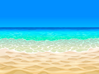 Beach and tropical sea. Sea panorama. Tropical beach in cartoon style. Stock.
