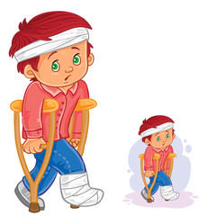 Poster Superheroes Vector illustration of a little boy on a crutch with a leg in a plaster and bandaged head. Print