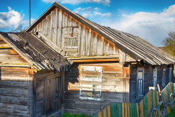 Old wooden village house in the countryside