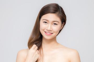 Asian beautiful women touching her hair
