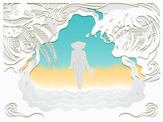 Paper art carving of sea wave, Dolphin and beach.The girl in the hat walks along the sea sandy beach.Summer vacation background.