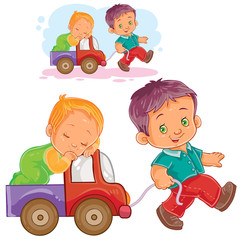 Vector illustration of two young boy playing together, older brother rolls a sleeping younger brother by car. Print