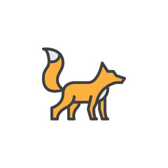 Fox filled outline icon, line vector sign, linear colorful pictogram. Symbol, logo illustration. Pixel perfect