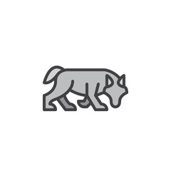 Wolf filled outline icon, line vector sign, linear colorful pictogram. Symbol, logo illustration. Pixel perfect