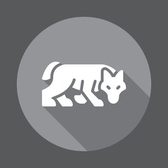 Wolf flat icon. Round colorful button, circular vector sign with long shadow effect. Flat style design