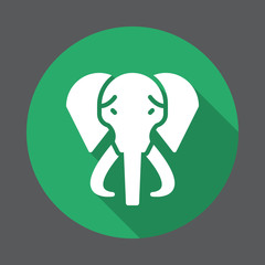 Elephant flat icon. Round colorful button, circular vector sign with long shadow effect. Flat style design