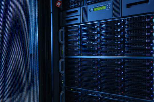 Many powerful servers running in the data center server room