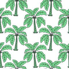 Seamless Tropical Jungle Palm Leaves Pattern.