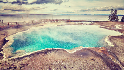 Color toned picture of a hot spring in Yellowstone National Park, Wyoming, USA.