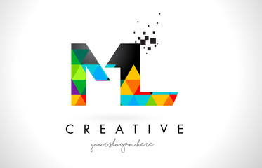 ML M L Letter Logo with Colorful Triangles Texture Design Vector.