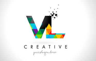 VL V L Letter Logo with Colorful Triangles Texture Design Vector.
