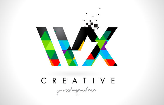 WX W X Letter Logo with Colorful Triangles Texture Design Vector.