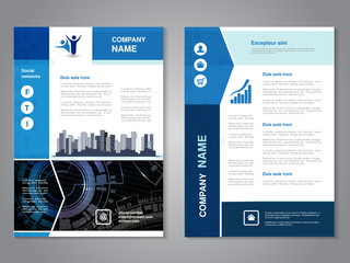 Vector modern brochure with arrow design, abstract flyer with technology background and with city scene. Layout template. Aspect Ratio for A4 size. Poster of blue and white color. Magazine cover.