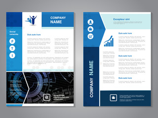Vector modern brochure with arrow design, abstract flyer with technology background. Layout template. Aspect Ratio for A4 size. Poster of blue and white color. Magazine cover.