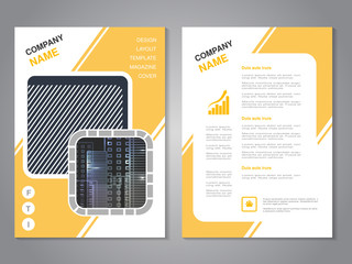 Vector modern brochure, abstract flyer with background of buildings. City scene in the square. Layout template. Poster of grey, yellow and white color. Magazine cover.