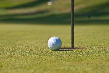 Golf ball on green with flag.