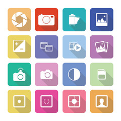 Set of vector photography icons in flat design set 1