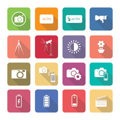 Set of vector photography icons in flat design set 2