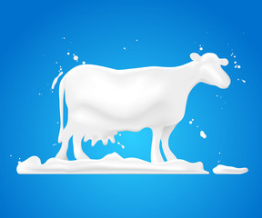 Abstract shape white cow on grass and splash milk.